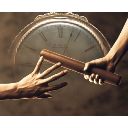 Close up of two runners hands passing the baton in relay race in front of old European clock face Poster Print by Panoramic Images (8 x 10) - Halloween Themed Relay Races