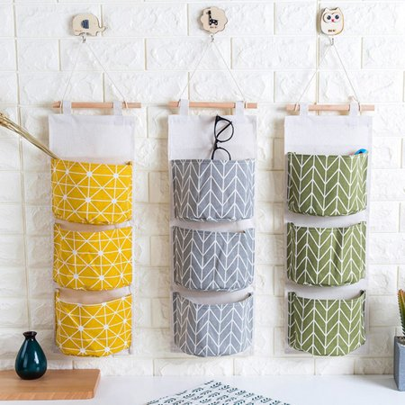 Meigar Clearance3 Grids Wall Mounted Storage Bag Over the Door Organizer Closet Pockets Cotton Linen Closet Hanging Storage Pouch Accessories Holder Container