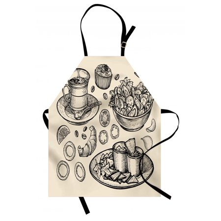 Sketch Apron Nachos Croissant Tea Onion Rings and Muffins Monochrome Illustration of Food, Unisex Kitchen Bib Apron with Adjustable Neck for Cooking Baking Gardening, Beige and Black, by