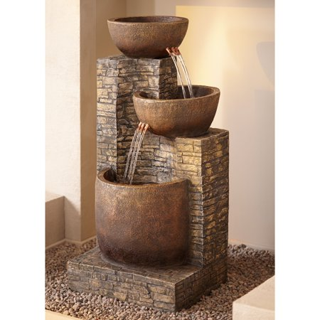 "John Timberland Outdoor Water Fountain Three Bowl Floor Cascade 35"" for Yard Garden Lawn"