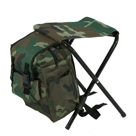LavoHome Camouflage Camping Backpack Bag with Folding Chair Stool-Ideal for Camping,Fishing,Hiking,Indoor Outdoor,Travel Beach BBQ