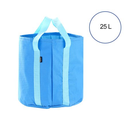 Emovendo Collapsible Portable Folding 25L Water Bucket Wash Basin Folding Bucket Water Container with Carrying Pouch Perfect Gear for Outdoor Activities Camping Hiking Fishing Travel - Pure Blue (Hobie Gear Bucket)