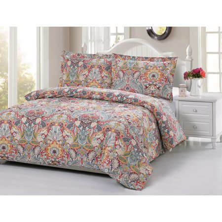 duvet cover set with paisley pattern with 2 standart size pillow cases cotton full queen. Black Bedroom Furniture Sets. Home Design Ideas