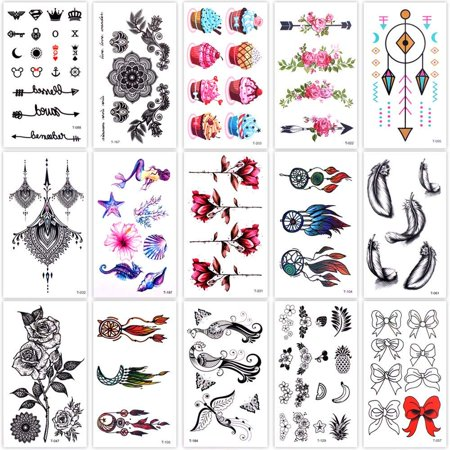 Lady Up 15 Sheets Temp Body Art Temporary Tattoos Fake Tattoo for Women Men Kids Dreamcatcher Boho Cupcake Flower Pattern 80+Designs](Halloween Fake Tattoos Sleeve)