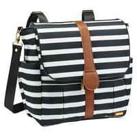 JJ Cole Backpack Diaper Bag Black & White Stripe
