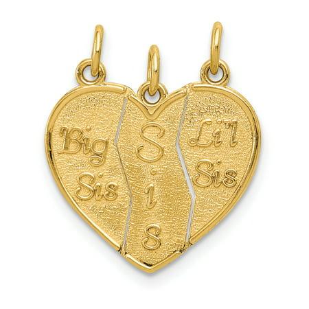 14K Yellow Gold 3 piece Break-apart Big Sis, Sis & Lil Sis Charm - image 2 de 2
