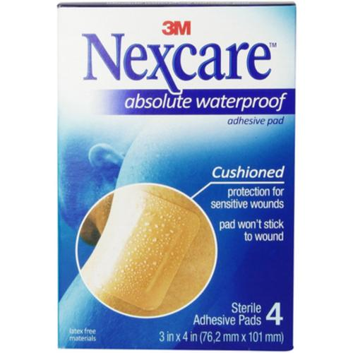 Nexcare  Absolute Waterproof Adhesive Gauze Pad 3 Inches x 4 Inches, 4 ea (Pack of 3)