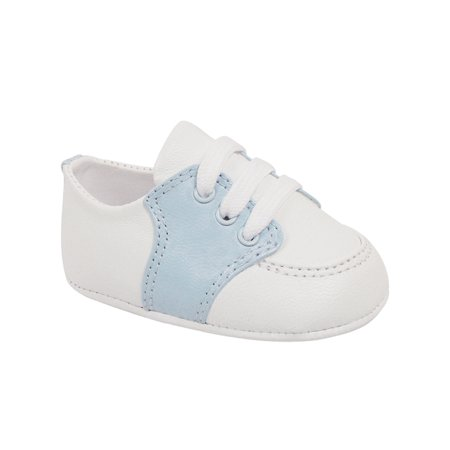 Baby Deer Boys White Blue Soft Sole Leather Saddle Oxford Shoes