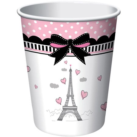 Paris Party 9oz Cups (8 Count) - Paris Themed Party Decor
