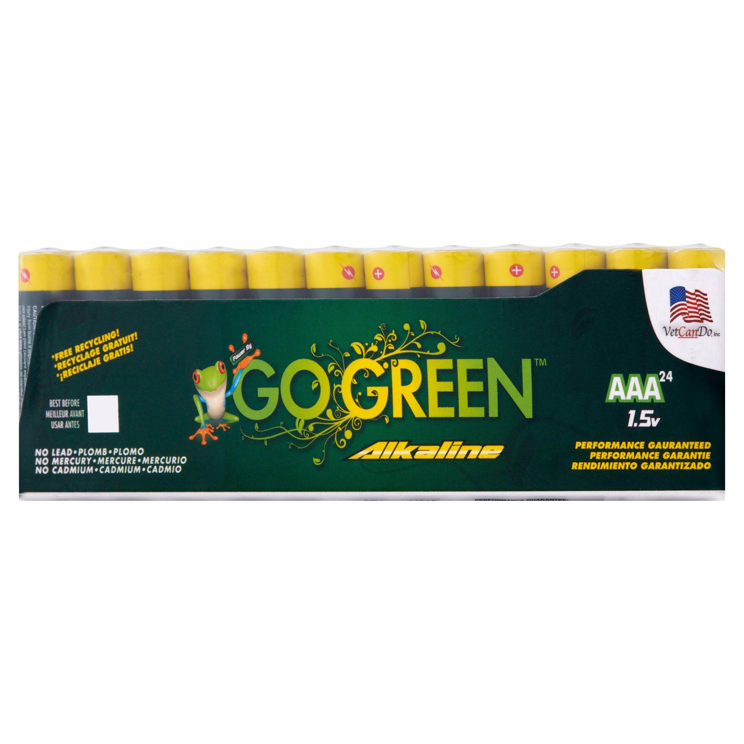 Go Green AAA 1.5V Alkaline Battery, 24 count