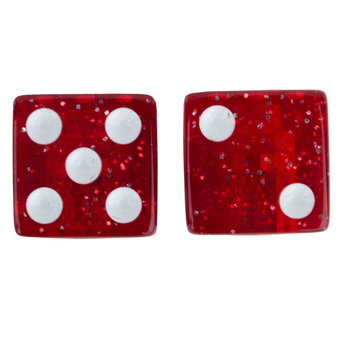 Trick Top Valve Caps Dice-Glitter Red