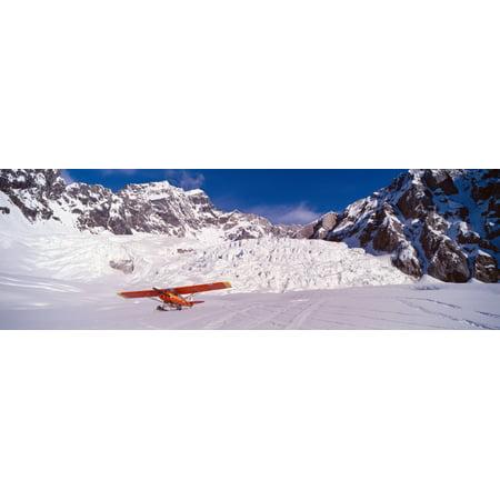 Cub Airplane (Super Cub Piper bush airplane Wrangell-St Elias National Part Alaska Canvas Art - Panoramic Images (27 x 9))