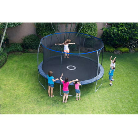 BouncePro 14' Trampoline with Proflex Enclosure and Electron Shooter Game, Dark Blue