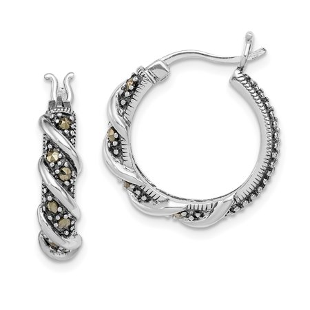 925 Sterling Silver Swirl Hoop Marcasite Earrings Ear Hoops Set Fine Jewelry Ideal Gifts For Women Gift Set From Heart