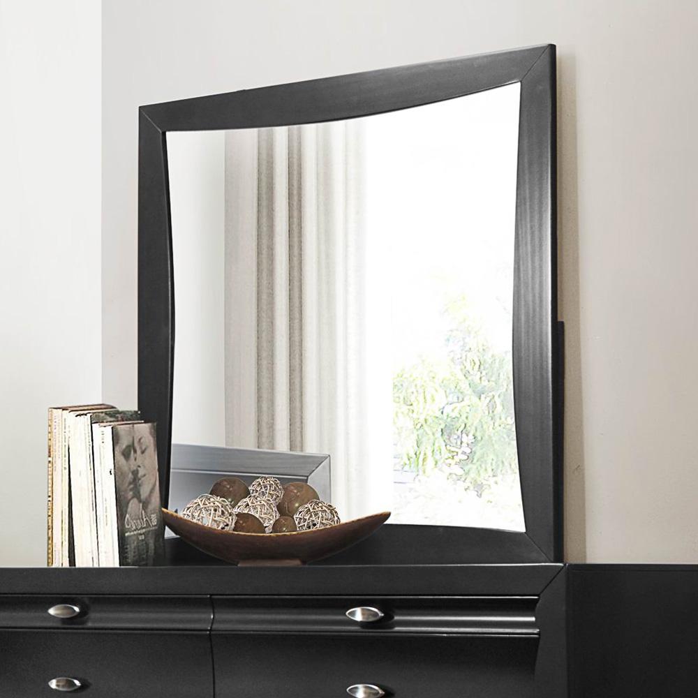 Homelegance Zandra Square Mirror in Pearl Black by