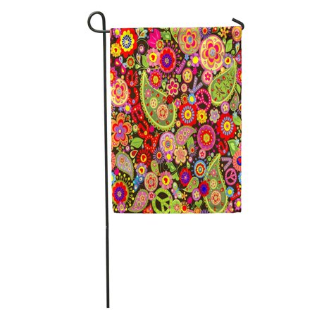 LADDKE Hippy Hippie Colorful Flower Power Pattern Paisley 1970S 70S Sixties Garden Flag Decorative Flag House Banner 12x18 inch (Sixties Flower Power)