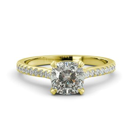 1.45 ct Cushion Brilliant Moissanite & Diamond Vintage Engagement Ring 14YellowGold Moissanite Vintage Ring