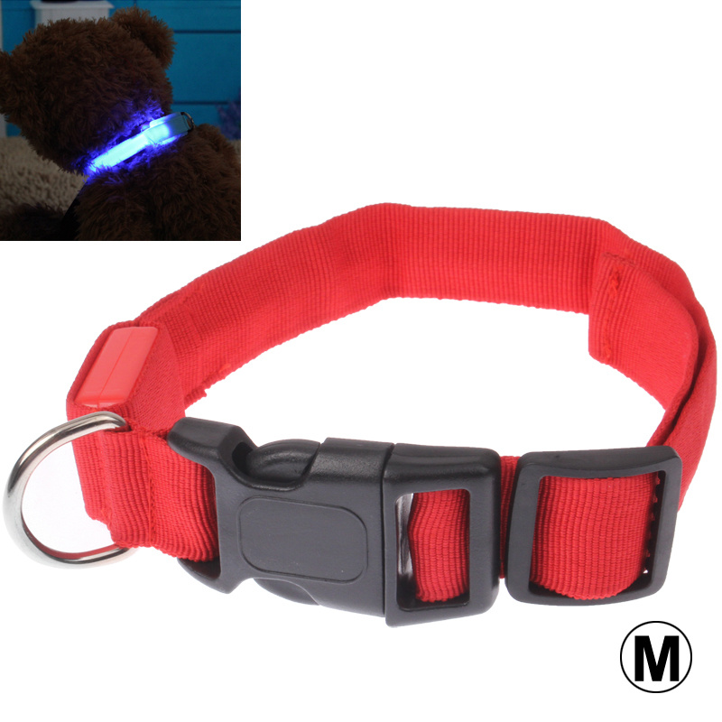 LED Dog Collar Adjustable Glowing Pet Safety 3-Mode LED Flashing Reflective Light Up Collar, Size: Medium(Red)