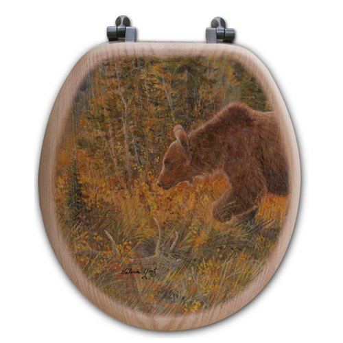WGI-GALLERY The Grizzly Walk Oak Round Toilet Seat