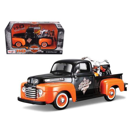 1948 Ford F-1 Pickup Truck Orange/Black with 1958 FLH Duo Glide Harley Davidson Motorcycle 1/24 Diecast Models by Maisto
