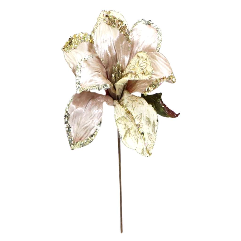 "Vickerman 35622 - 30"" Champagne Beaded Magnolia 11"" Flower Pick (O146438)"