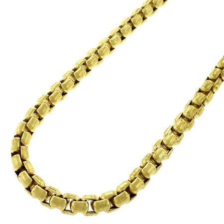 "Sterling Silver 5mm Round Box Link Solid 925 Yellow Gold Plated Necklace Chain 24"" - 40"""