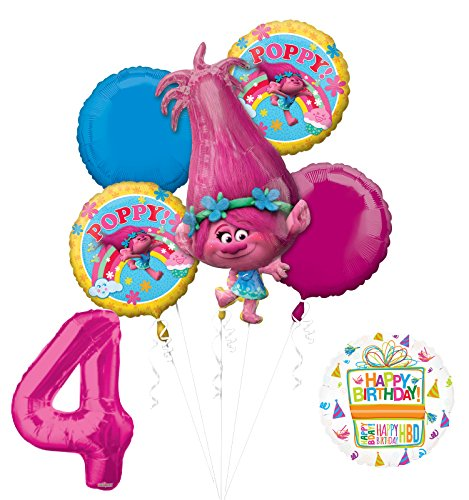 NEW TROLLS POPPY 4th Birthday Party Supplies And Balloon Bouquet Decorations