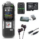 Philips DVT6000 Voice Tracer Digital Recorder with 3-Mic Auto Zoom Plus Black Voice Recorder and 8GB Deluxe... by