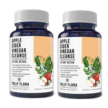 Fully Flora Apple Cider Vinegar Cleanse Natural Detox and Weight Loss (2 bottles x 30 Capsules)