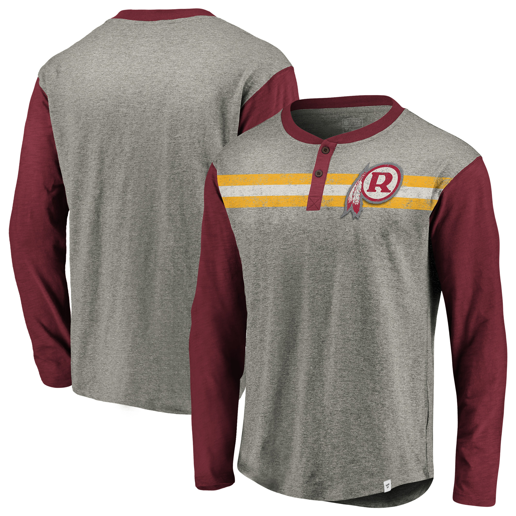 Washington Redskins NFL Pro Line by Fanatics Branded Big & Tall True Classics Henley Long Sleeve T-Shirt - Heathered Gray/Burgundy