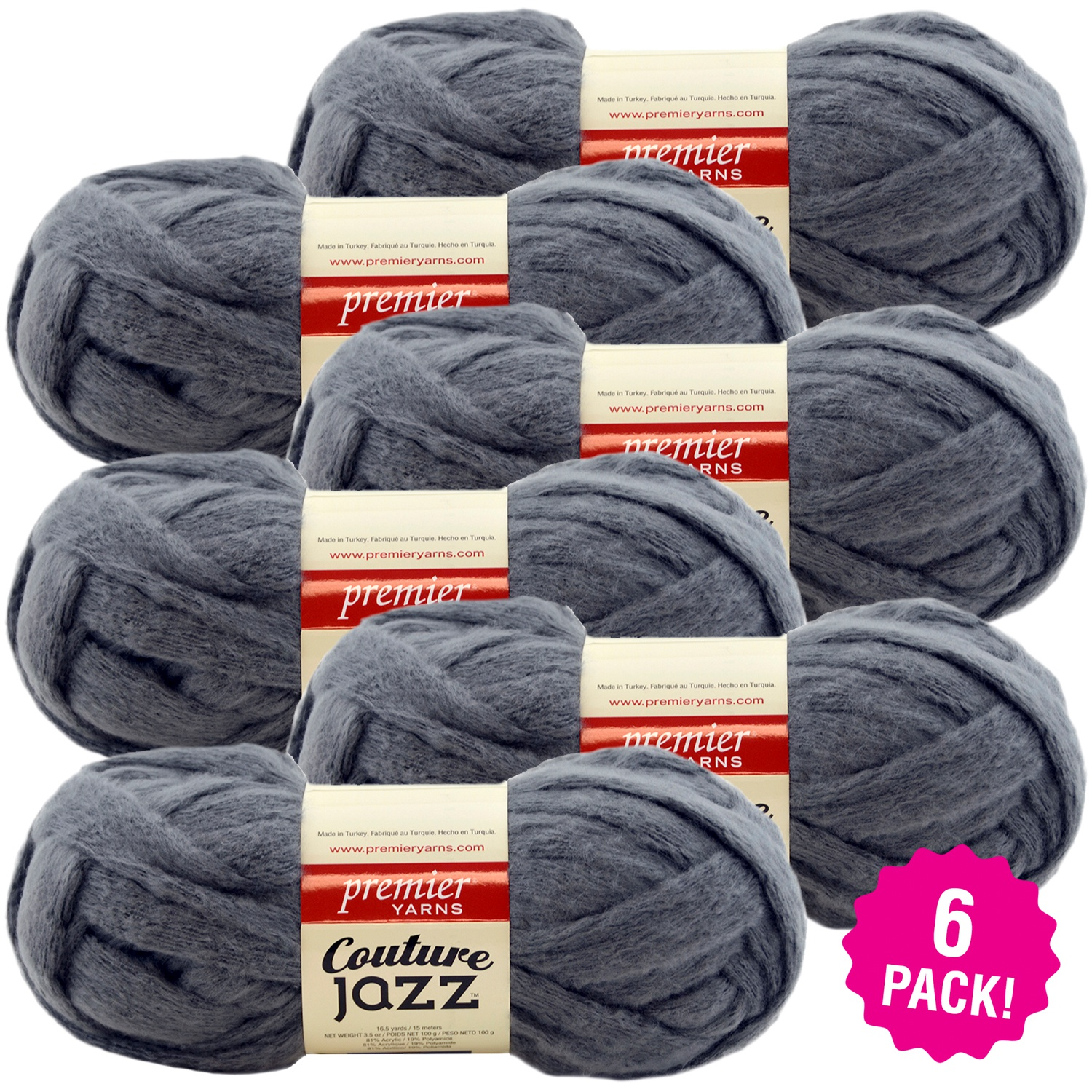 Premier Yarns Couture Jazz Yarn - Slate, Multipack of 6