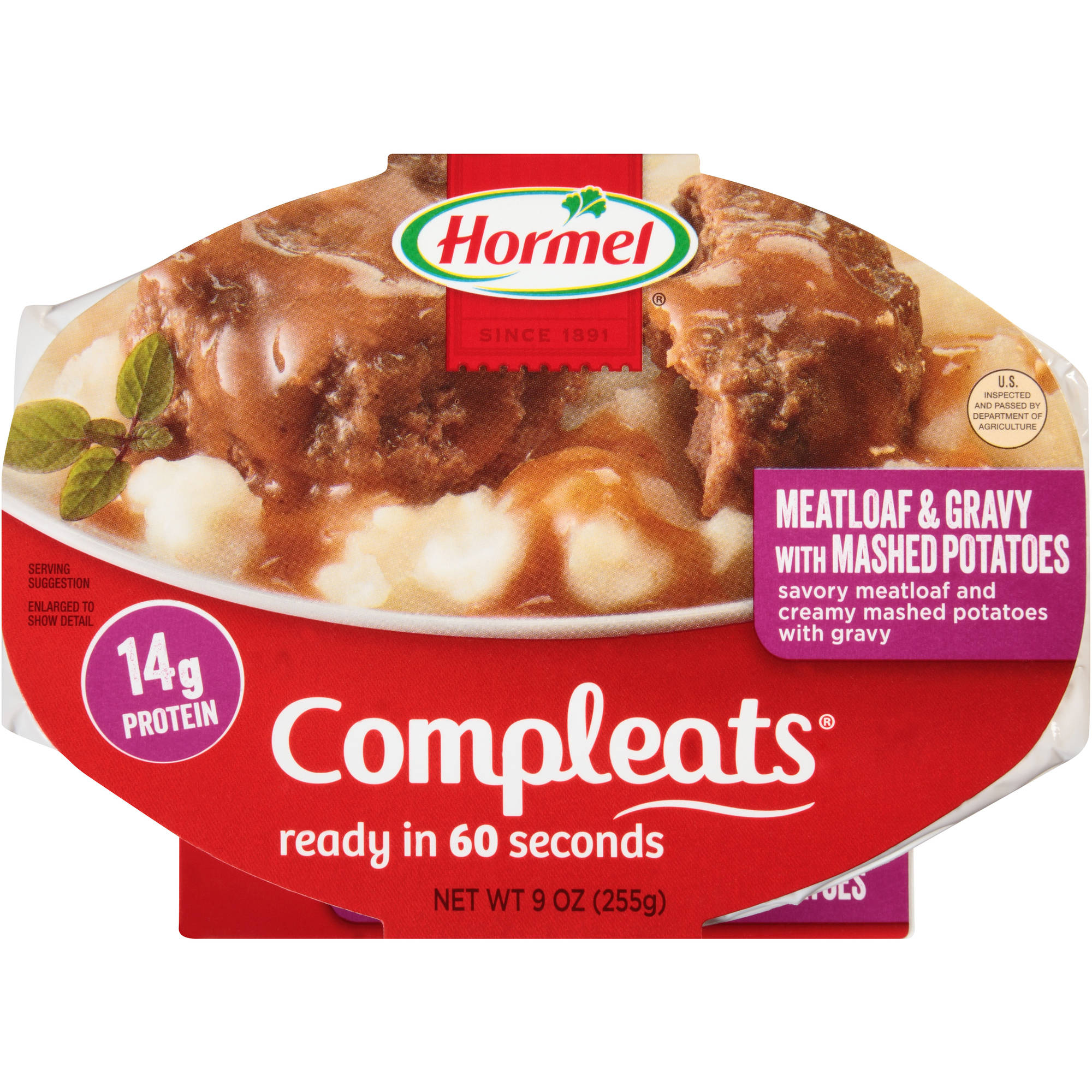 Hormel Compleats Meatloaf & Gravy with Mashed Potatoes, 9 oz
