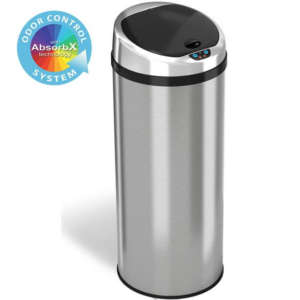 Itouchless Stainless Steel 13 Gallon Motion Sensor Trash Can Walmart Com Walmart Com