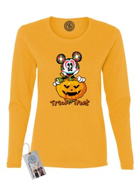 Product Image Womens Long Sleeve Shirt Top Trick Or Treat Halloween Mickey e62c5969a