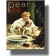 Pears Soap Dirty Boy and Dog Bathroom Picture on Stretched Canvas, Wall Art Decor, Ready to Hang!