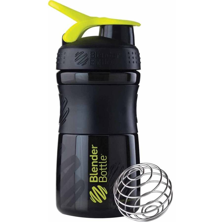 BlenderBottle 20-Ounce SportMixer Tritan Grip Bottle, Black/Green