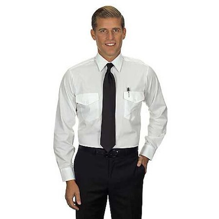 Van Heusen Pilot Shirt (Van Heusen Men's Aviator Shirt - Long Sleeve 15.5 34/35 White)
