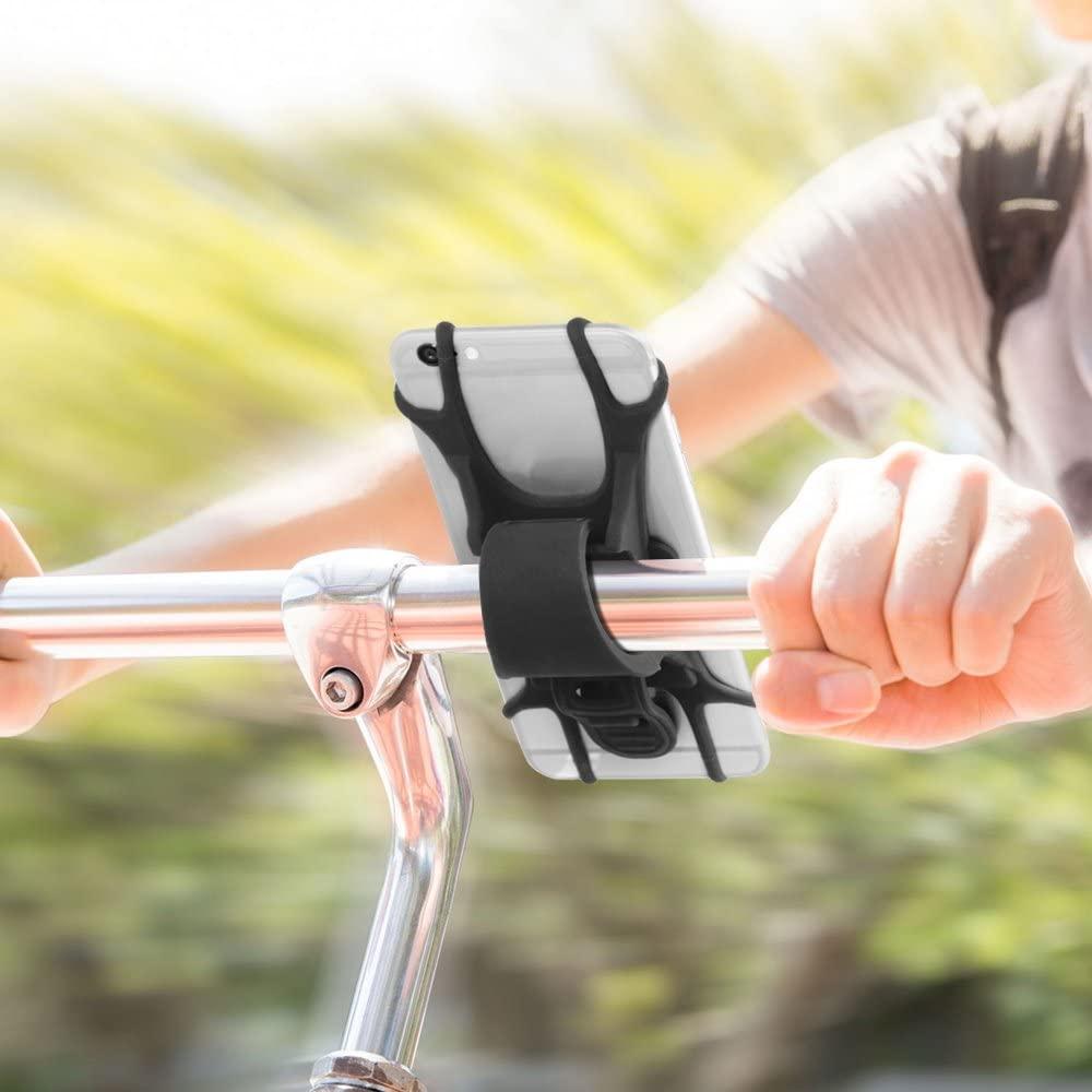 AFUNTA Universal Bike Mount 2 Packs Silicone Bicycle Motorcycle Handlebar Phone Holders Compatible Smartphone 4-6 Phone 6 7 Plus Galaxy S7 S8