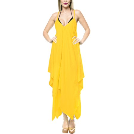 Summer Rayon Solid Long Women Beach Dress Casual Loose Smock Flowy Evening Unique Holiday Sundress