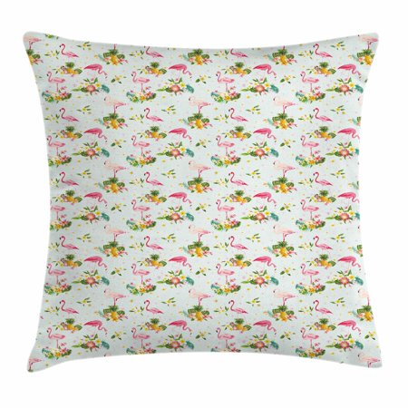 Flamingo Throw Pillow Cushion Cover, Flourishing Fresh Flowers with Pineapples and Dots Retro Style Birds Romantic, Decorative Square Accent Pillow Case, 16 X 16 Inches, Multicolor, by (Pineapple Bird)