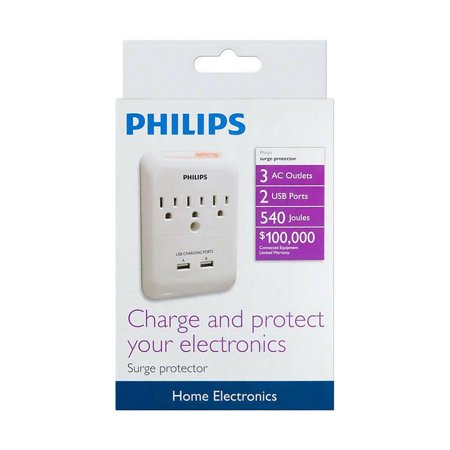 Philips 3 Outlet + 2 Charging USB Ports Wall Tap Surge Protector 34276889793 - image 1 of 3