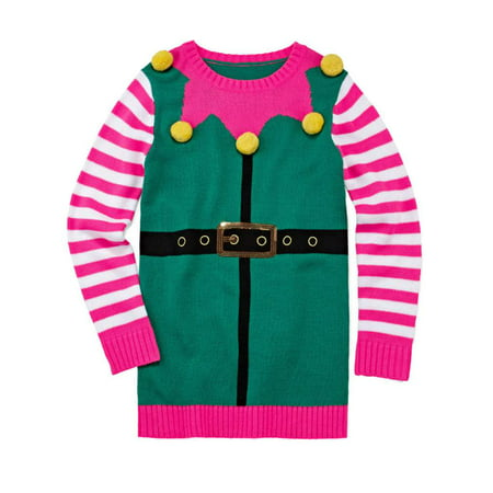 Total Girl Girls & Plus Pink Elf Holiday Long Sleeve Pullover Sweater Tunic](Elf Tunic)