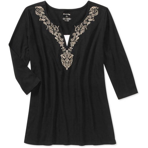 White Stag Women's Plus-Size Embroidered 2fer Tunic Top