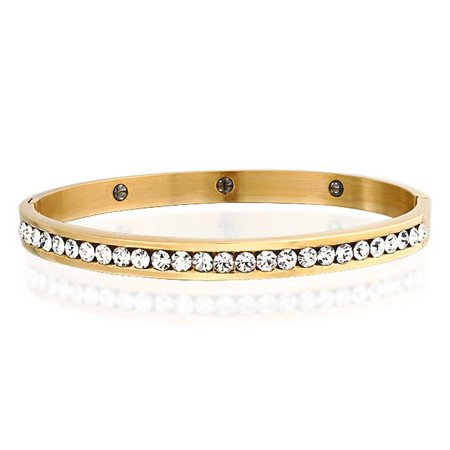 Yellow Plated Stainless Steel Bracelet - Channel Set White Cubic Zirconia CZ Stackable Bangle Bracelet For Women Prom Weddings Gold Plated Stainless Steel
