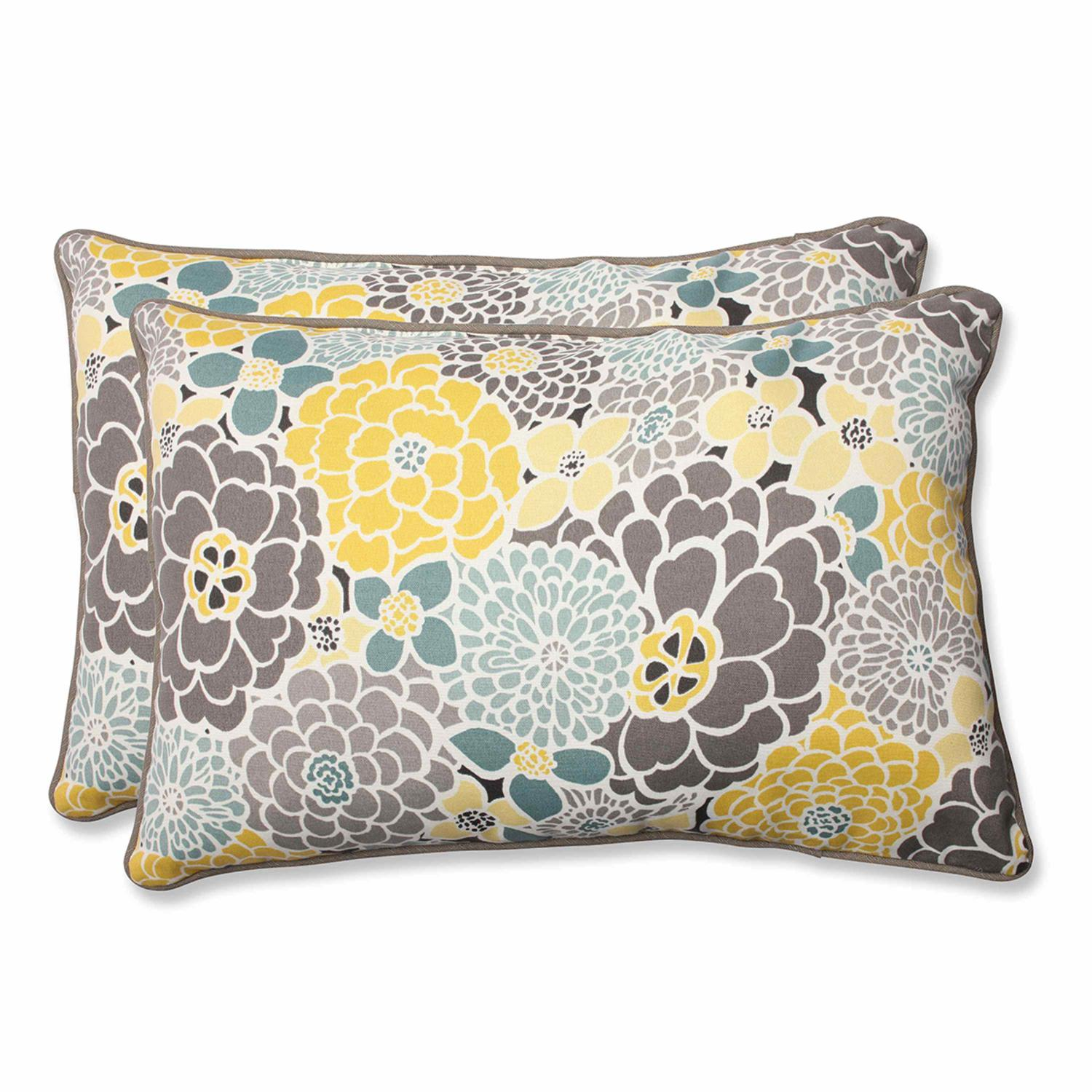 Set of 2 Yellow, Blue and Gray Flor Grande Outdoor Corded Rectangular Decorative Throw Pillows 24.5""