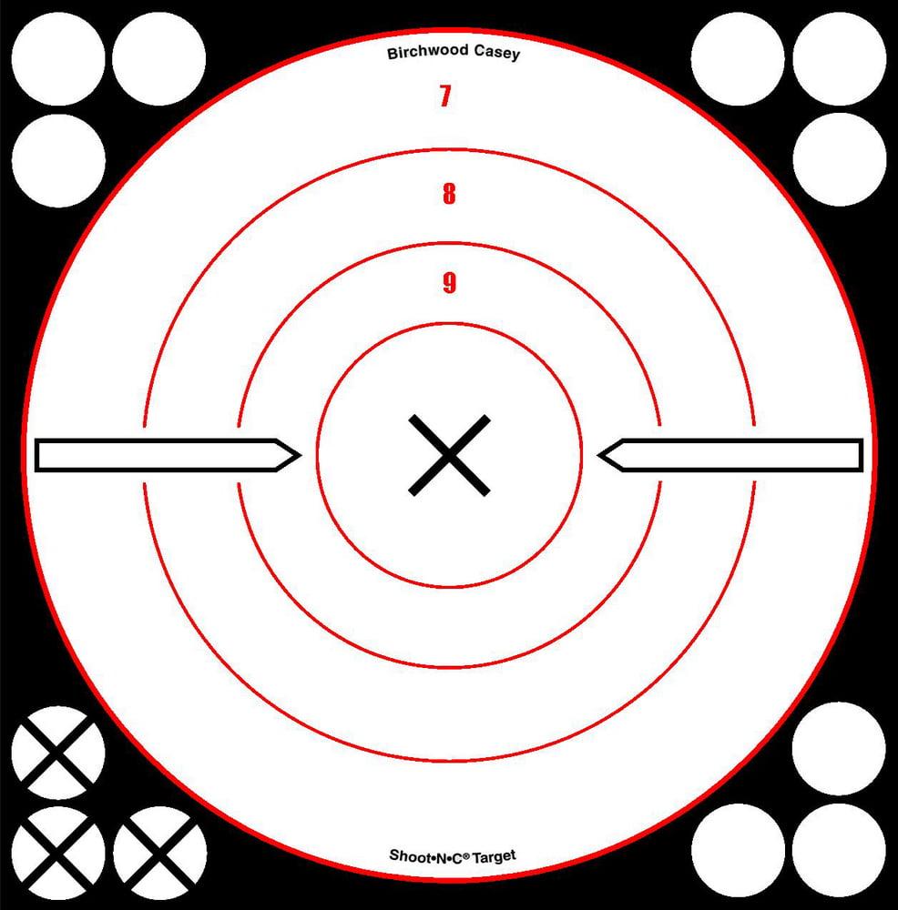 """Birchwood Casey Shoot-N-C Bull's-eye X 6s 8"""", White/Black"""