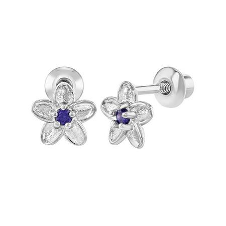 Purple Flower Earrings (Rhodium Plated Baby Earrings Girls Screw Back Flower Purple CZ )