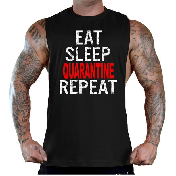 Eat Sleep Gym Repeat Stringer Vest Black