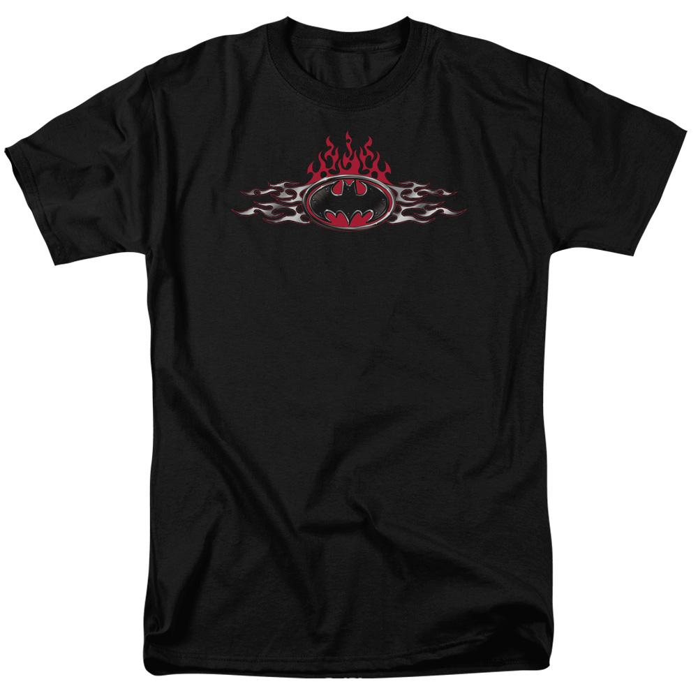 BATMAN/STEEL FLAMES LOGO-S/S ADULT 18/1 - BLACK - 4X