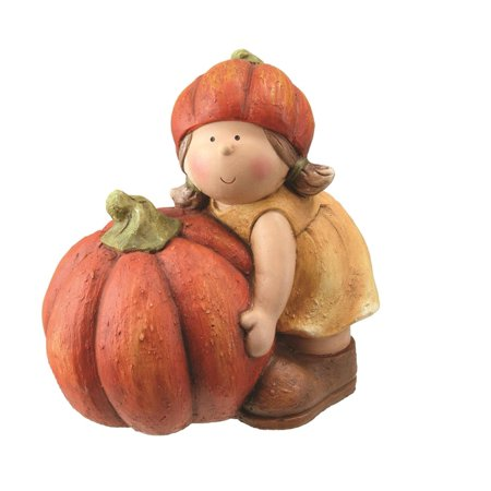 11.5 Fall Harvest Girl in Tan Dress with Artificial Orange Pumpkin Table Top - Fall Yard Decorations